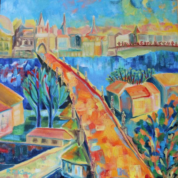 Prague Charles bridge Oil painting on canvas